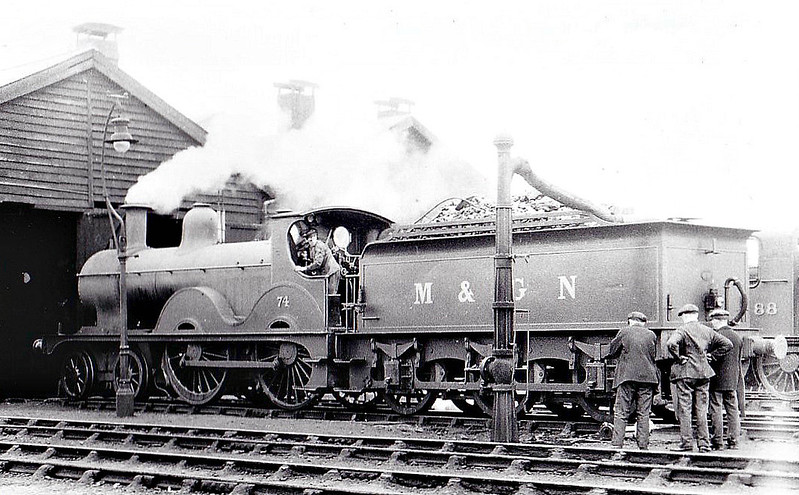 M&GN - 74 - Johnson M&GN Class C LNER Class D52 4-4-0 - built 1899 by Beyer Peacock Ltd, Works No.4066 - 1918 rebuilt - LNER No.074 not applied - 05/37 withdrawn from South Lynn - seen here at South Lynn, 07/36.
