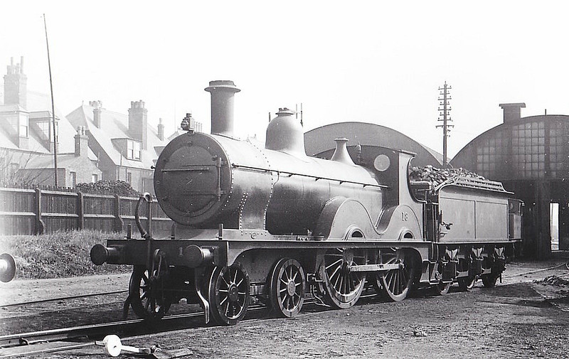 M&GN - 18 - Johnson Class C LNER Class D52 4-4-0 - built 1894 by Sharp Stewart & Co., Works No.4013, as M&GN No.18 - LNER No.018 not applied - 02/37 withdrawn from South Lynn - seen here at Yarmouth Beach, 08/29.