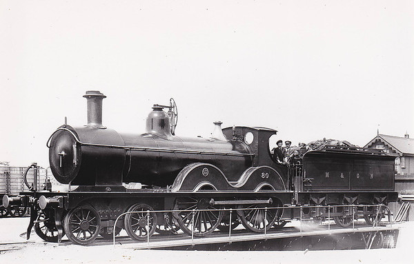M&GN - 80 - Johnson M&GN Class C LNER Class D52 4-4-0 - built 1899 by Beyer Peacock Ltd., Works No.4072 - 1919 rebuilt - LNER No.080 not applied - 02/37 withdrawn from Melton Constable.