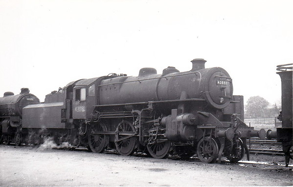BR - 43081 - BR Ivatt Class 4MT 2-6-0 - built 10/50 by Darlington Works - 01/65 withdrawn from 34E New England (based there for all of it's life) - seen here at Spalding in May 1951 - note tablet exchange apparatus.