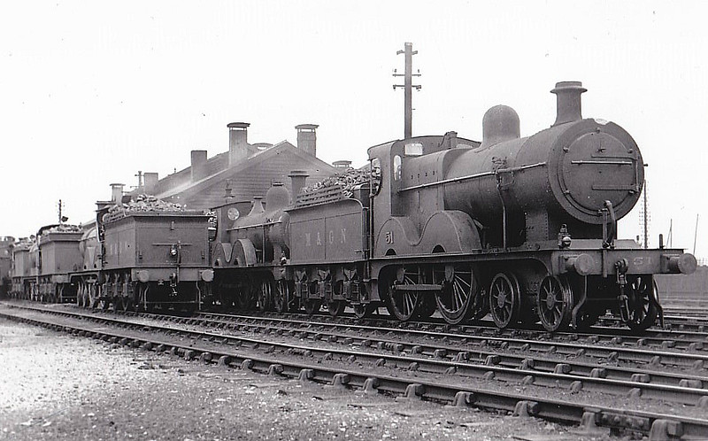 M&GN - 51 - Johnson M&GN Class C LNER Class D54 4-4-0 - built 1896 by Sharp Stewart & Co., Works No.4190 - 1915 rebuilt with Belpaire boiler to Class D54 - 09/37 to LNER No.051 - 05/43 withdrawn from South Lynn - seen here at South Lynn.