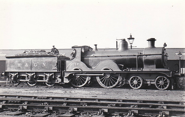 M&GN - 12 - Johnson Class C LNER Class D52 4-4-0 - built 1894 by Sharp Stewart & Co., Works No.4009, as M&GN No.12 - 1911, 1924, 1931 rebuilt - 1936 to LNER No.012 - 08/42 withdrawn from Melton Constable MPD - seen here at Nottingham Low Level in May 1936.