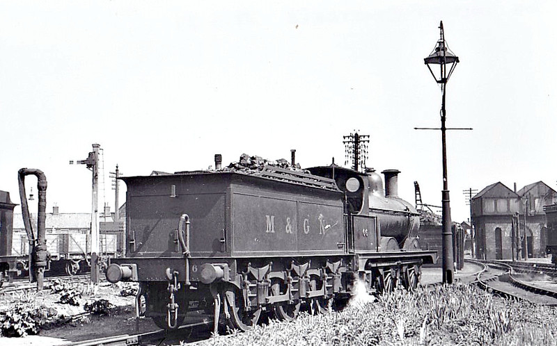 M&GN - 66 - Johnson M&GN Class D 2F 0-6-0 - built 03/1899 by Kitson & Co., Works No.3873 - 1921 rebuilt - LNER Class J40 No.066 not applied - 10/37 withdrawn - seen here at Melton Constable, 05/37.