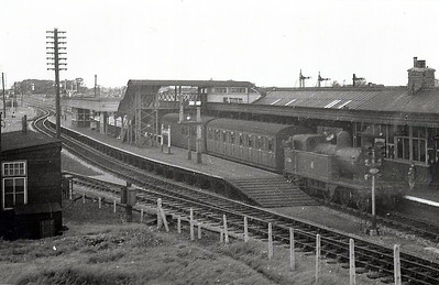 BR - 67386 - Ivatt GNR Class C12 4-4-2T - built 12/03 by Doncaster Works as GNR No.1536 - 10/24 to LNER No.4536, 05/46 to LNER No.7386, 08/48 to BR No.67386 - 04/58 withdrawn from 31C Kings Lynn - seen here at South Lynn on the shuttle service to Kings Lynn -  31C loco from 09/51 until withdrawn.