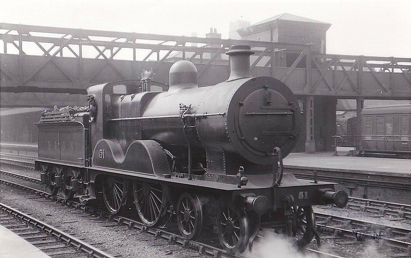 M&GN - 51 - Johnson M&GN Class C LNER Class D54 4-4-0 - built 1896 by Sharp Stewart & Co., Works No.4190 - 1915 rebuilt with Belpaire boiler to Class D54 - 09/37 to LNER No.051 - 05/43 withdrawn from South Lynn - seen here at Nottingham Midland, 06/29.