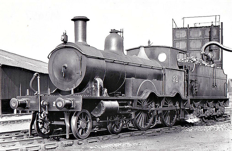 M&GN - 22 - Lynn & Fakenham Railway M&GN Class A 4-4-0 - built 1881 by Beyer Peacock Ltd., Works No.2106, as L&FR No.22 - LNER No.022 not applied - 1936 withdrawn - seen here in Nottingham Midland Carriage Sidings after rebuild with extended smokebox, extended cab roof, round cab windows and sandboxes to the rear of the splashers for tender-first running.