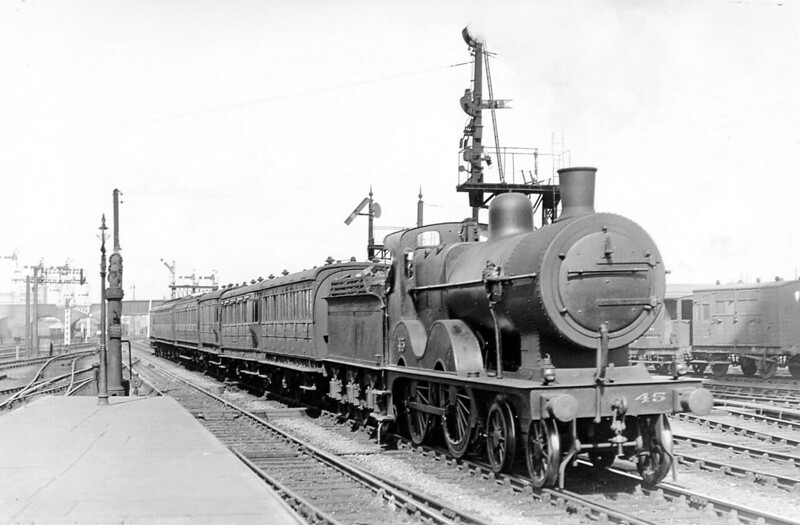 M&GN - 45 - Johnson M&GN Class C LNER Class D54 4-4-0 - built 1894 by Sharp Stewart & Co., Works No.3995 - 1909 rebuilt with Belpaire boiler, 1926 rebuilt to Class D54 - LNER No.045 not applied - 11/36 withdrawn from S0uth Lynn - seen here arriving at Peterborough North with a train from Yarmouth Beach.