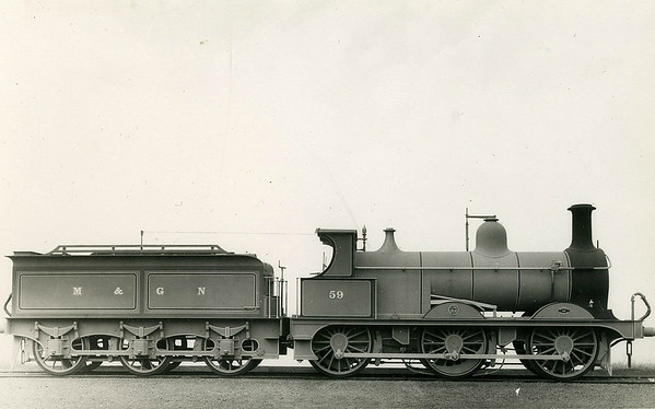 M&GN - 59 - Johnson M&GN Class D 2F 0-6-0 - built 08/1896 by Neilson & Co., Works No.5033 - 1920 rebuilt - 08/37 to LNER Class J40 No.059 - 06/44 withdrawn - this looks like a builder's picture.