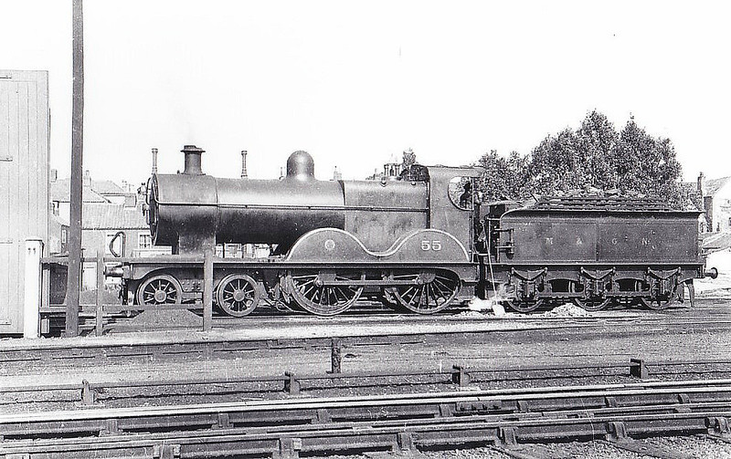 M&GN - 55 - Johnson M&GN Class C LNER Class D54 4-4-0 - built 1896 by Sharp Stewart & Co., Works No.4194 - 1908 rebuilt, 07/25 rebuilt with Belpaire boiler to Class D54 - 04/37 to LNER No.055 - 11/43 withdrawn from Melton Constable - seen here at Norwich.