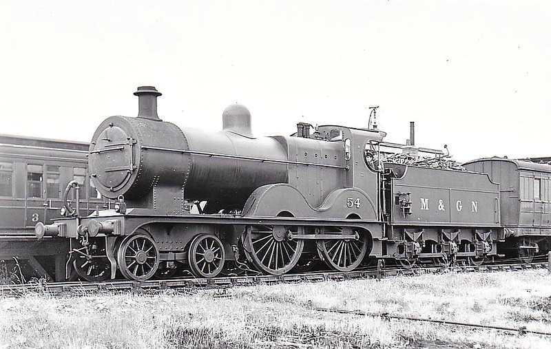 M&GN - 54 -Johnson M&GN Class C LNER Class D54 4-4-0 - built 1896 by Sharp Stewart & Co., Works No.4193 - 1914 rebuilt with Belpaire boiler as Class D54 - 01/37 to LNER No.054 - 10/39 withdrawn from Melton Constable - seen here at South Lynn, 07/36.