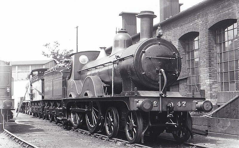 M&GN - 47 - Johnson Class C LNER Class D52 4-4-0 - built 1894 by Sharp Stewart & Co., Works No.3997, as M&GN No.47 - 1908, 1928 rebuilt - 07/37 to LNER No.047 - 06/42 withdrawn from Melton Constable - seen here at Melton Constable, 06/29,