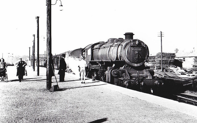 BR - 43150 - BR Ivatt Class 4MT 2-6-0 - built 11/51 by Doncaster Works - withdrawn 01/65 from 34E New England - seen here at Norwich City on 28/02/59.
