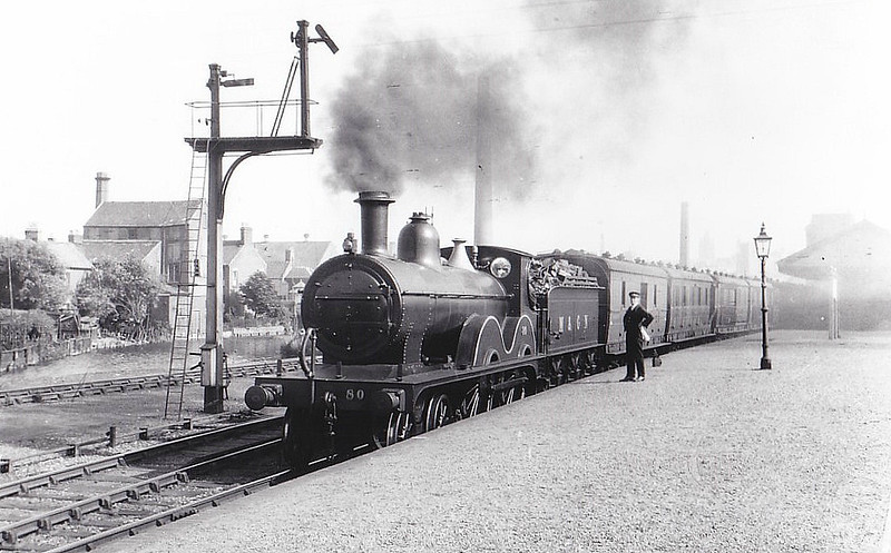 M&GN - 80 - Johnson M&GN Class C LNER Class D52 4-4-0 - built 1899 by Beyer Peacock Ltd., Works No.4072 - 1919 rebuilt - LNER No.080 not applied - 02/37 withdrawn from Melton Constable - seen here at Norwich City, 06/29.