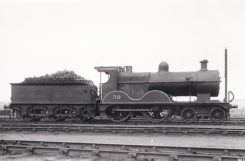 M&GN - 52 - Johnson M&GN Class C LNER Class D54 4-4-0 - built 1896 by Sharp Stewart & Co., Works No.4191 - 1913 rebuilt with Belpaire boiler to Class D54, 1940 rebuilt by LNER - 10/36 to LNER No.052 - 02/43 withdrawn from South Lynn - 02/43 withdrawn from South Lynn.