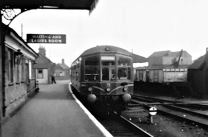 BR - Derby Lightweight DMU - awaits departure from Melton Constable - diesels of any description were something of a rarity on the M&GN.