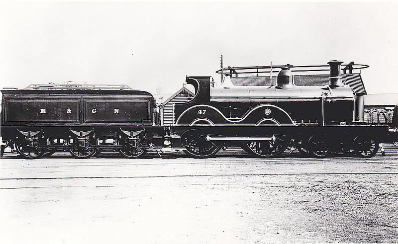 M&GN - 47 - Johnson Class C LNER Class D52 4-4-0 - built 1894 by Sharp Stewart & Co., Works No.3997, as M&GN No.47 - 1908, 1928 rebuilt - 07/37 to LNER No.047 - 06/42 withdrawn from Melton Constable.