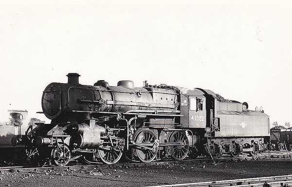 BR - 43082 - BR Ivatt Class 4MT 2-6-0 - built 10/50 by Darlington Works - 11/65 withdrawn from 41J Langwith Junction - 35A New England loco from new to 11/63 - seen here at Spalding - note tablet exchange apparatus