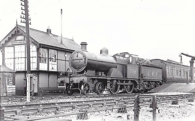 LMS -  758 - Johnson MR Class 3P 4-4-0 - built 11/04 by Derby Works as MR No.848 - 1907 to MR No.758, 08/48 to BR No.40758 - 03/51 withdrawn from 15D Bedford - seen here at South Lynn, 07/36.