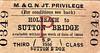 M&GN TICKET - Privilege Single Third Class from Holbeach to Sutton Bridge.