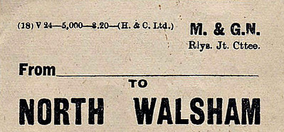 M&GN LUGGAGE/PARCEL LABEL - NORTH WALSHAM - printed 02/20. Fairly unusual in having a space for the point of origin.