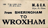 M&GN LUGGAGE/PARCEL LABEL - SHERINGHAM to WROXHAM, printed 03/24. I would think it that it was fairly unusual to have a pre-printed point of origin on these labels on these labels, particularly in rural areas, as a huge stock would be required to cover all possible permutations.