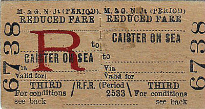M&GN TICKET - CAISTER ON SEA - Reduced Fare Third Class Return.