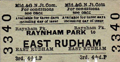 M&GN TICKET - RAYNHAM PARK - Third Class Single to East Rudham - fare 4 1./2d - this is only one stop - clipped but not dated.