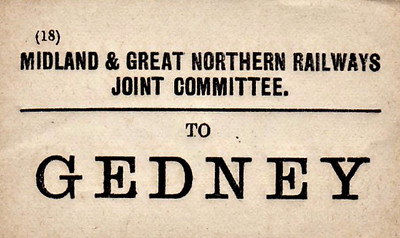 M&GN LUGGAGE/PARCEL LABEL - GEDNEY - on the South Lynn-Spalding line.
