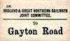M&GN LUGGAGE/PARCEL LABEL - GAYTON ROAD - on the South Lynn-Fakenham line. I can't imagine that much unaccompanied luggage was ever sent there.
