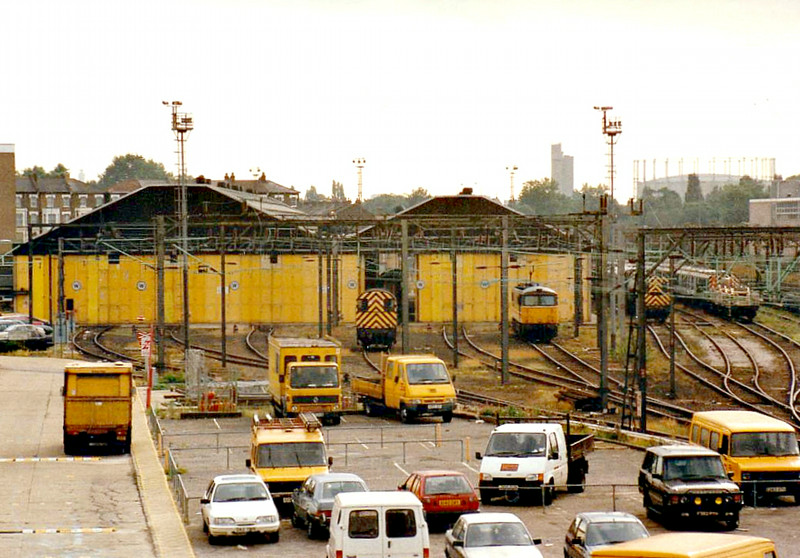 WILLESDEN TRACTION MAINTENANCE DEPOT - looking south from the bridge at Willesden Junction, 26/09/96.