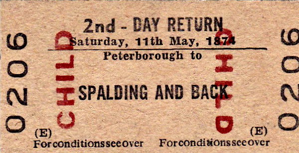 BR EDMONDSON TICKET - PETERBOROUGH - Second Class Child Day Return to Spalding - the date must be a misprint! May 11th was Flower Parade Day in 1974 so this may have been a ticket for a special train.