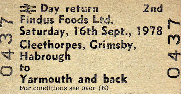 BR EDMONDSON TICKET - FINDUS FOODS LTD. - CLEETHORPES to YARMOUTH - Second Class Return for the Works Outing to Yarmouth on September 16th, 1978.