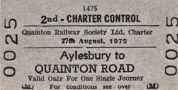 BR EDMONDSON TICKET - AYLESBURY - The Buckinghamshire Railway Society, based at Quainton Road, regularly organised shuttle services from Aylesbury to it's Open Days and Events using DMU stock. This one evidently ran on August Bank Holiday Weekend in 1972.