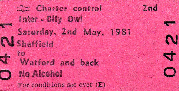 BR EDMONDSON TICKET - INTER-CITY OWL - SHEFFIELD WEDNESDAY versus Watford FC, May 2nd, 1981 - a Division 2 match, a 2 - 1 win for Watford so someone went home unhappy!
