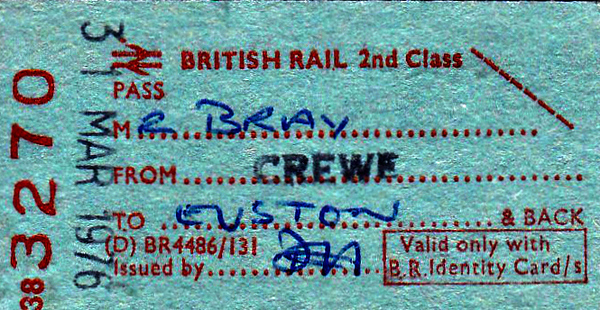 BR EDMONDSON TICKET - STAFF PASS FROM CREWE TO EUSTON - issued to Mr Bray on March 31st, 1976.