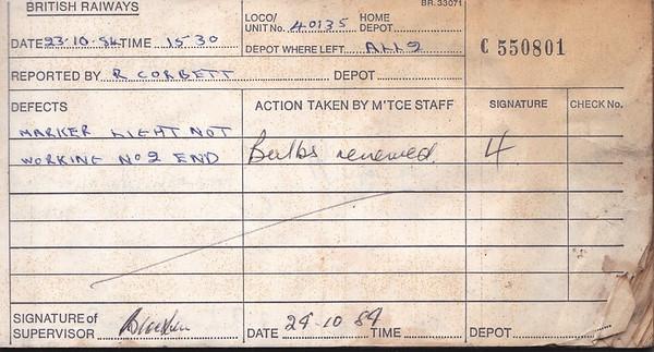 DIESEL LOCOMOTIVE REPAIR BOOK - 40135 - No.550801 - Reported at Allerton Diesel Depot on October 23rd, 1984 - 'Marker light not working No.2 end.'