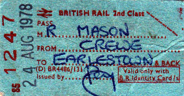 BR EDMONDSON TICKET - STAFF PASS FROM CREWE TO EARLESTOWN - issued to Mr Mason on August 24th, 1978.