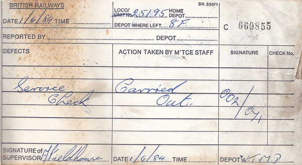 DIESEL LOCOMOTIVE REPAIR BOOK - 25195 - No.669855 - Reported at Wigan Springs Branch on June 1st, 1984 - 'Service check.'