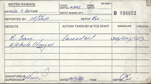 DIESEL LOCOMOTIVE REPAIR BOOK - 45003 - No.996052 - Reported at Bescot on September 20th, 1984 - 'B Exam. Brake block changed.'