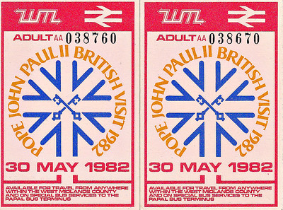 BRITISH RAILWAYS TICKET - Tickets issued by WMPTE for the visit of Pope John Paul II to Britain in May 1982. He addressed 300000 people at Coventry Airport and these tickets were valid as stated a the bottom. I can't quite work out how they have the same number though.