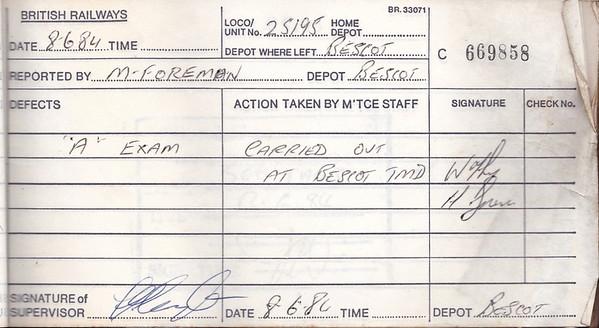 DIESEL LOCOMOTIVE REPAIR BOOK - 25195 - No.669858 - Reported at Bescot on June 8th, 1984 - 'A Exam'.