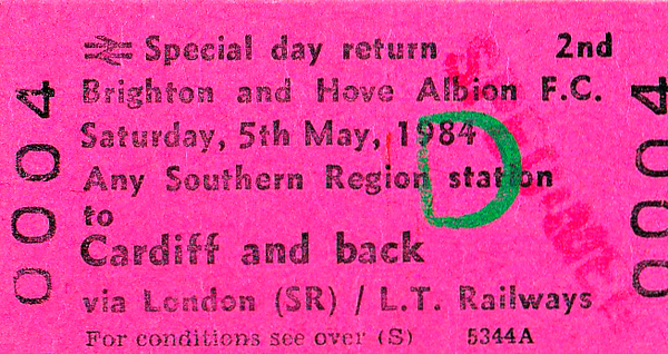 BR EDMONDSON TICKET - ANY SOUTHERN REGION STATION to CARDIFF - Specimen ticket not for a special train but to allow football fans to travel to Cardiff by service trains. The match was a 2-2 draw.
