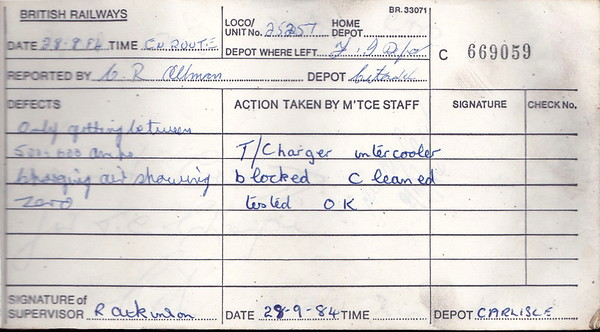 DIESEL LOCOMOTIVE REPAIR BOOK - 25257 - No.669059 - Reported at Carlisle Kingmoor on August 28th, 1984 - Only getting between 500-600 amps. Charging air showing zero.'