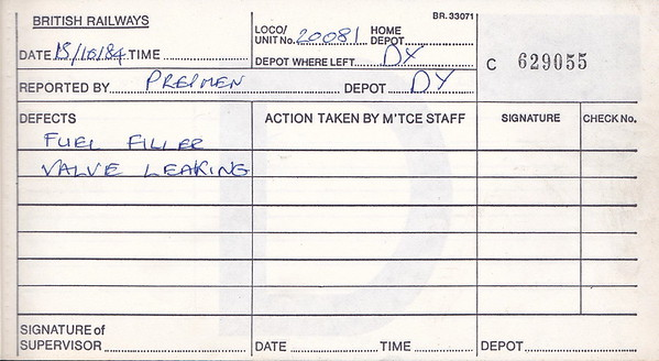 DIESEL LOCOMOTIVE REPAIR BOOK - 20081 - No.629055 - Reported at Derby on October 15th, 1984 - Fuel filler valve leaking.'