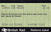 BR PLATFORM TICKET - MARGATE - 10 pence, dated April 16th, 1988. I remember this trip - it was an NSE Network day and the Missus and I had dumped the kids on Margate beach and then gone for a ride along the coast and a nice lunch.