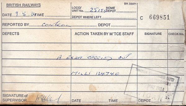 DIESEL LOCOMOTIVE REPAIR BOOK - 25195 - No.669851 - Reported at Wigan Springs Branch on May 5th, 1984 - 'A Exam carried out. Miles 124740.' This doesn't seem a very high mileage for a 20 year old loco but it may well have been re-engined.