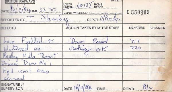 DIESEL LOCOMOTIVE REPAIR BOOK - 40135 - No.550809 - Reported at Birkenhead Cavendish Diesel Depot on November 14th, 1984 - 'Loco fuelled and watered on Healey Mills Depot. Driver's door No.1 end won't keep closed.'