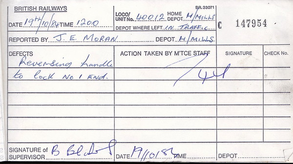 DIESEL LOCOMOTIVE REPAIR BOOK - 40012 - No.147954 - Reported at Healey Mills on October 19th, 1984 - 'Reversing handle to lock No.1 End.'