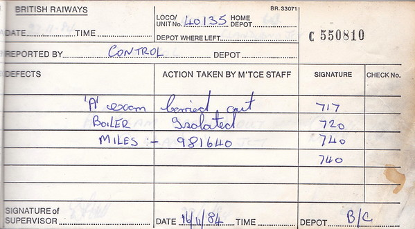 DIESEL LOCOMOTIVE REPAIR BOOK - 40135 - No.550810 - Reported at Birkenhead Cavendish Diesel Depot on November 16th, 1984 - 'A Exam carried out. Boiler isolated. Miles - 981640.' Only 30 miles run in two weeks!