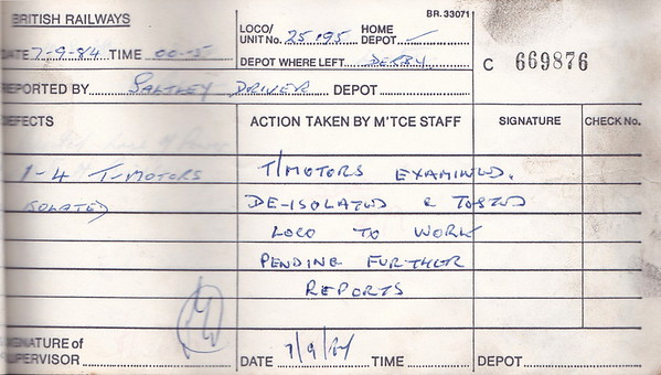 DIESEL LOCOMOTIVE REPAIR BOOK - 25195 - No.669876 - Reported at Derby on September 7th, 1984 - '1-4 Traction Motors isolated.'